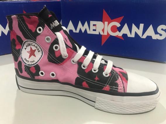 Zapatillas Botitas De Lona Americanas Animal Print Rosas