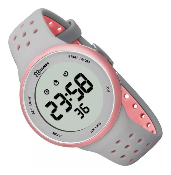 Relógio Feminino Xgames Digital Xfppd039 Cinza Rosa Original