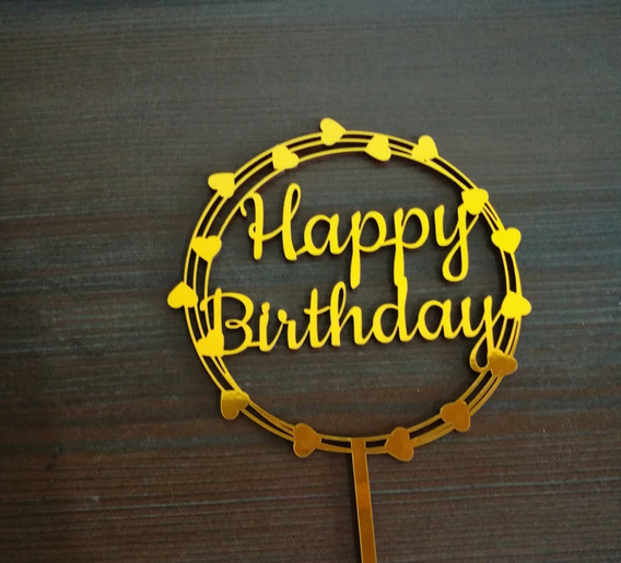 Cake Topper Happy Birthday Corazones