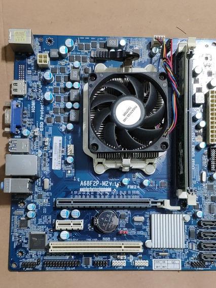 Placa Mãe A68f2p Kit Com Processador E Memória