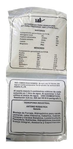 Solución Nutritiva Para Forraje Verde Hidroponic Para 2000 L