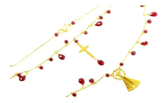 Corrente Feminina Ouro 18k Pingente Nossa Senhora Aparecida Com 9 Brilhantes E Rubis 40cm + Porta Joias 1778