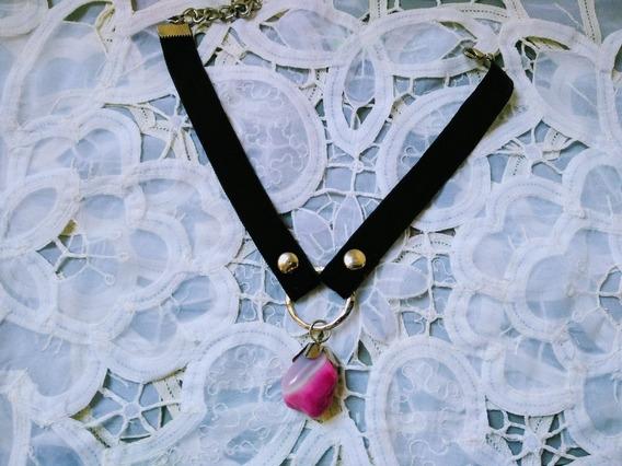 Collar Choker Terciopelo Con Piedra Fucsia