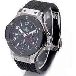 Relógio Hblo Hb632 Big Bang Prata Cronógrafo Borracha