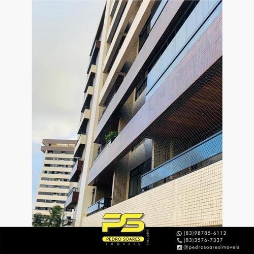 (mobiliado) Apartamento Com 3 Dormitórios Para Alugar, 166 M² Por R$ 6.000/mês - Tambaú - João Pessoa/pb - Ap4555