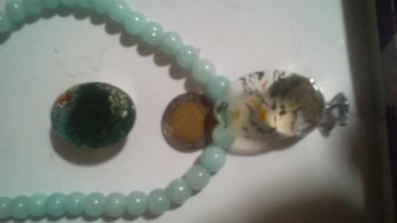 Collar Jade Azul Transparente Belleza Con Moldabita Dije