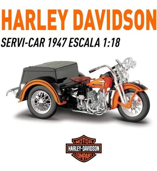Hermosa Moto Harley Davidson Servi-car 1947 Maisto Esc 1:18
