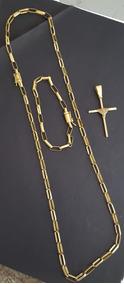 Corrente+pulseira+pingente Crucifixo De Moeda Antiga