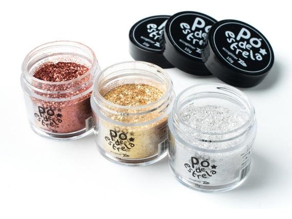 Pó De Estrela | 3 Potes Com 10g - Glitter Ecológico Mineral