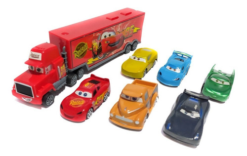 Cars Camión Mula Niñera Impulso + 6 Carros Rayo Mcqueen