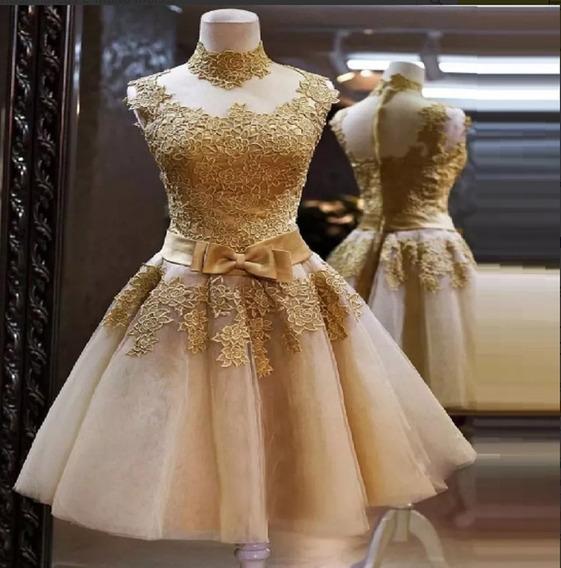Vestido Feminino Dourado Tom Ouro Curto Festa Rodado Luxo Casamento Princesa 15 Anos
