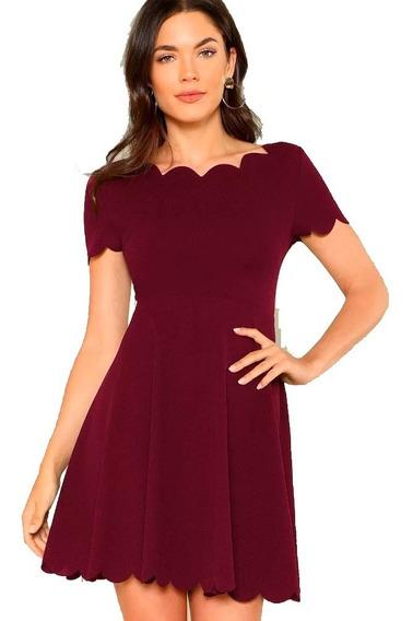 Vestido Elegante Rojo Acampanado De Moda Comodo Bonita