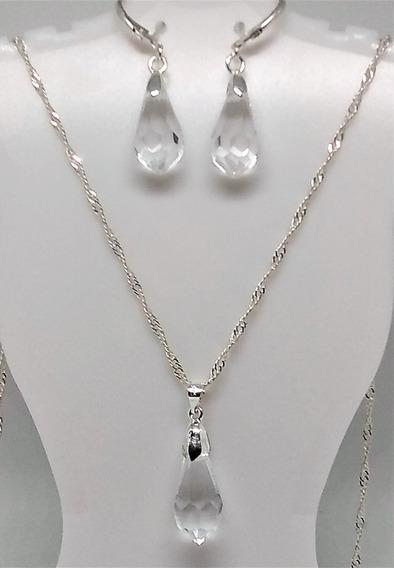 Conjunto De Prata E Cristal Arttude (colar E Brincos )