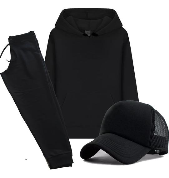 Conjunto Blusa Moletom + Boné +calça