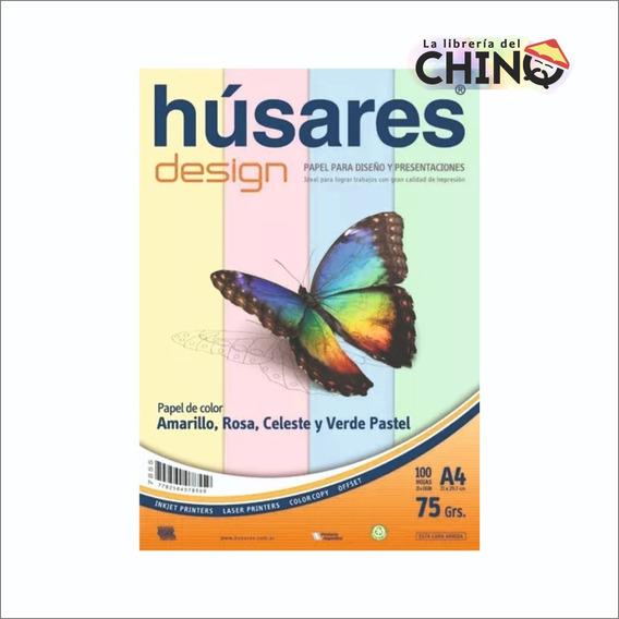 Resma Húsares 100 Hojas A4 4 Colores Pastel 75grs.