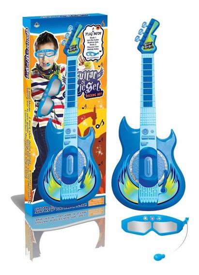 Guitarra Infantil Eletronica Infantil Microfone Karaoke Azul