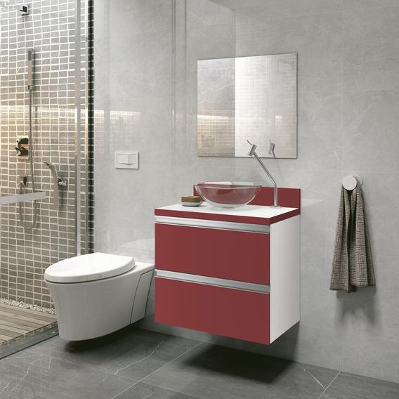 Gabinete Armário Banheiro Pia Espelho Vermelho Vigor 60