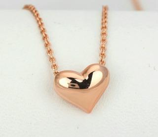 Collar De Corazon Oro 18k Swarovski Amor Novios Regalo Mujer