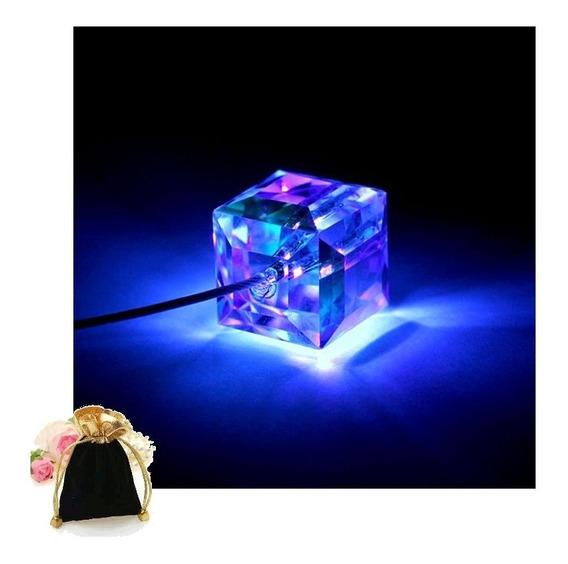 Colar Pingente Brilha Escuro Cubo Led Blue Crystal Cube