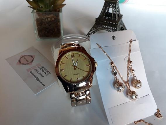 Kit Relógio Colar E Brincos Feminino + Caixa