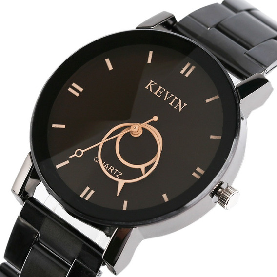 Reloj Acero Negro Marca Kevin Hombre Mujer Aros Caballero