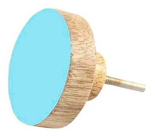 Puxador Redondo Madeira Azul Móveis Portas Gavetas 30mm