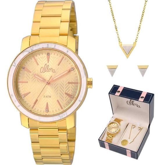 Relógio Allora Kit Feminino Com Semijóia Al2035fkf/k4x