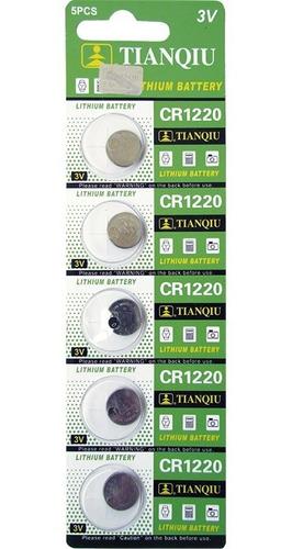 Pila Batería De Boton Litio Cr1220 Tianqiu Blister 5 Unid