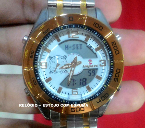 Relógio Masculino Aço Fundo Branco Analogico Digital M1203a