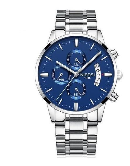 Relógio Nibosi Barato Prata/azul Excelente Presente Barato
