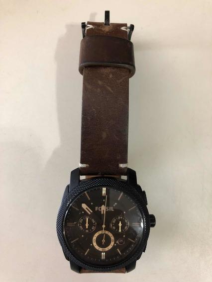 Relógio Fóssil Original Com Pulseira De Couro Marrom