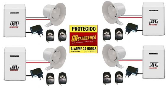 4 Kit Botão Pânico Com Sirene Interligados Vizinho Protegido