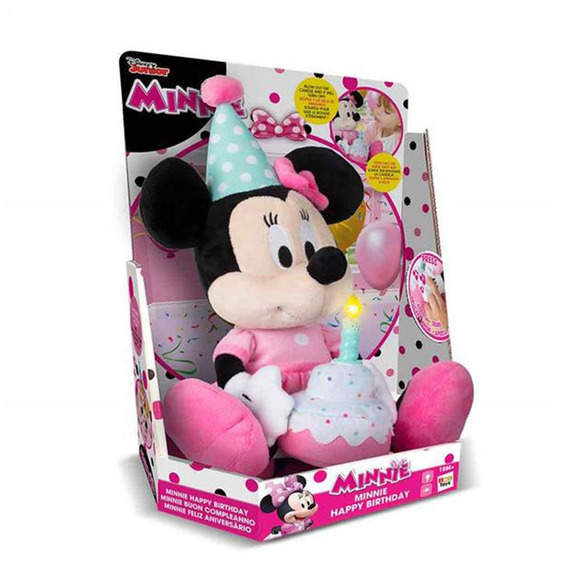 Pelúcia Com Som Personagens Disney Minnie Happy Birthday