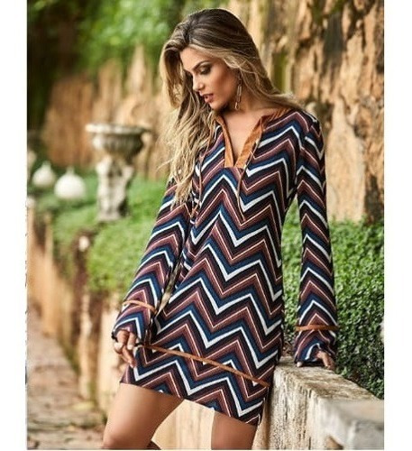 Vestido Estampa Chevron Tendenza.