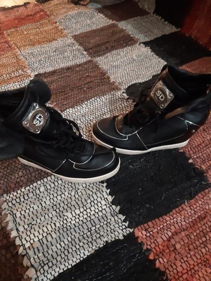 Zapatillas Saverio Di Ricci Cuero Con Taco Tipo Botitas