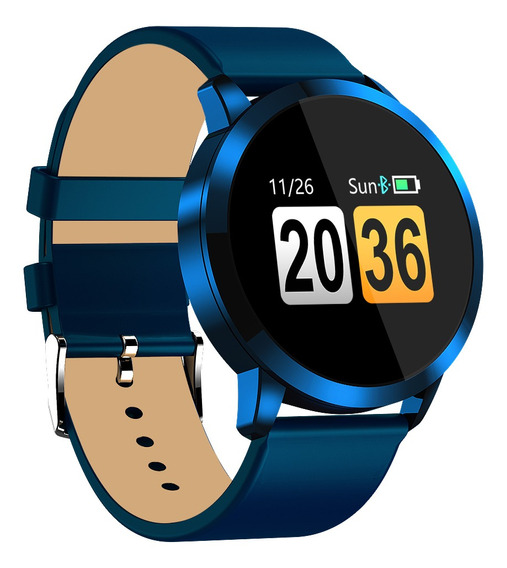 Reloj Inteligente Q8 1.2 Pulgadas Correa De Cuero Azul