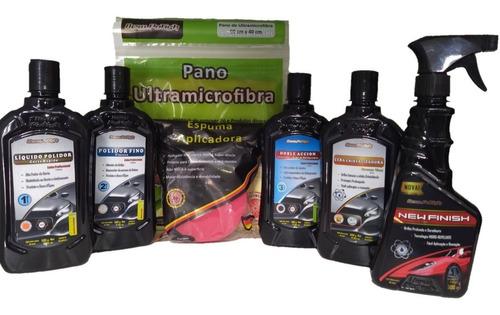 Cera Automotiva + Kit Para Polimento Profissional E Manutenção Do Carro Proporciona Brilho Intenso - 7 Produtos