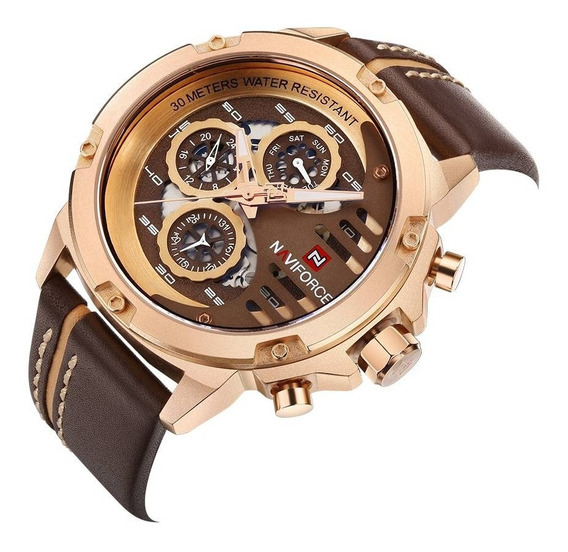 Relógio Naviforce 9110 Masculino Quartz Pulseira De Couro