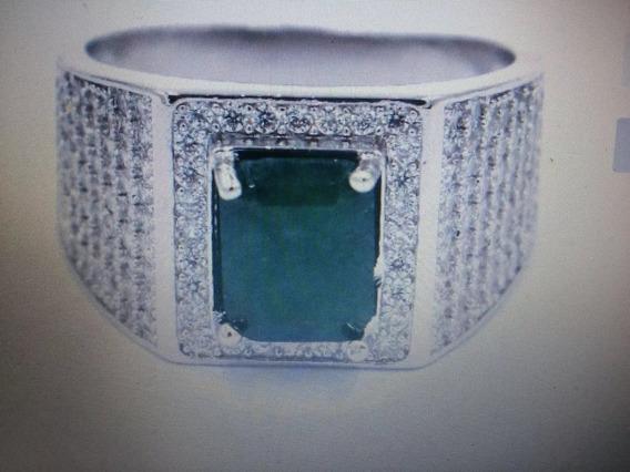 Anel Prata 925 Pedra Esmeralda Natural Aros 20 21 22