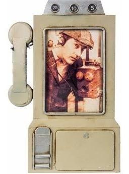 Porta-retrato Metal Retrô Vintage Telefone Cinza
