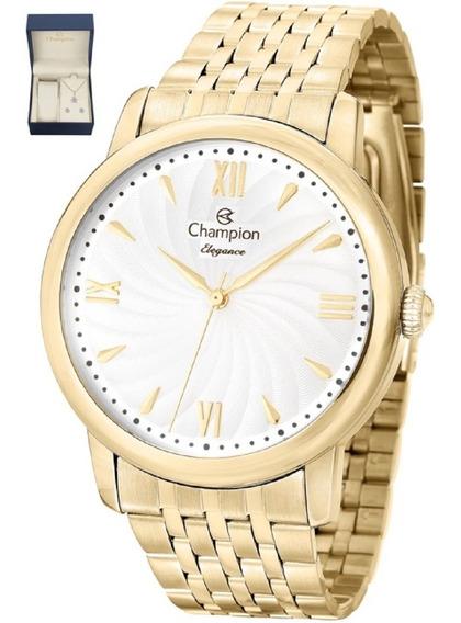 Kit Relógio Champion Feminino Pulseira Banhado Ouro Cn27787w
