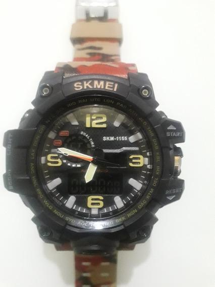 Relógio Masculino Camuflado Skmei 1155 Original Cor Bege