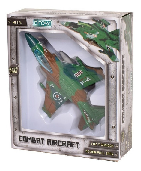 Avion Caza Air Force Metal Luz Sonido A Friccion 1/12
