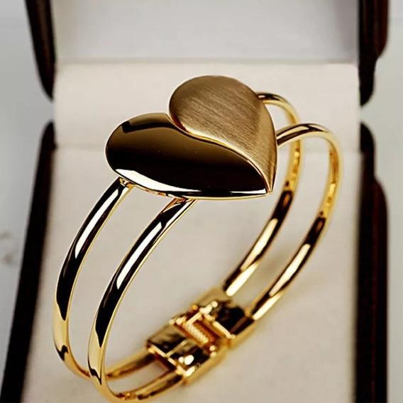 Pulseira Bracelete Folheado Ouro Cristais Zirconia Coração