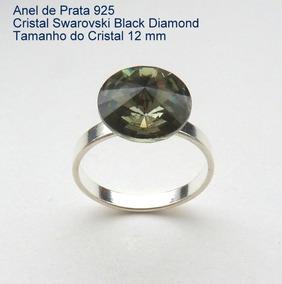Anel De Prata 925 Com Garantia Cristal Swarovski 12 Mm 7900c