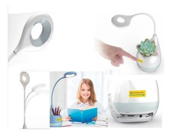 Luminária De Mesa Bluetooth Led Fm Speaker H