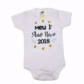 Kit 2 Body Bebê Meu Primeiro Natal + Ano Novo Menino Menina