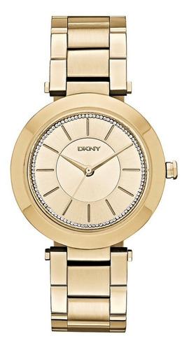 Relógio Pulso Feminino Dkny Donna Karan Aço Dourado Champagn