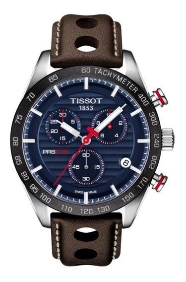 Relógio Tissot Prs 516 Azul Marrom Completo C/ Caixa Tissot