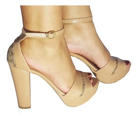 Sandalias Femininas Salto Alto Salto Grosso Rosê Renda Festa Meia Pata Saltos Festa Casamento Sapatos Femininos Conforta